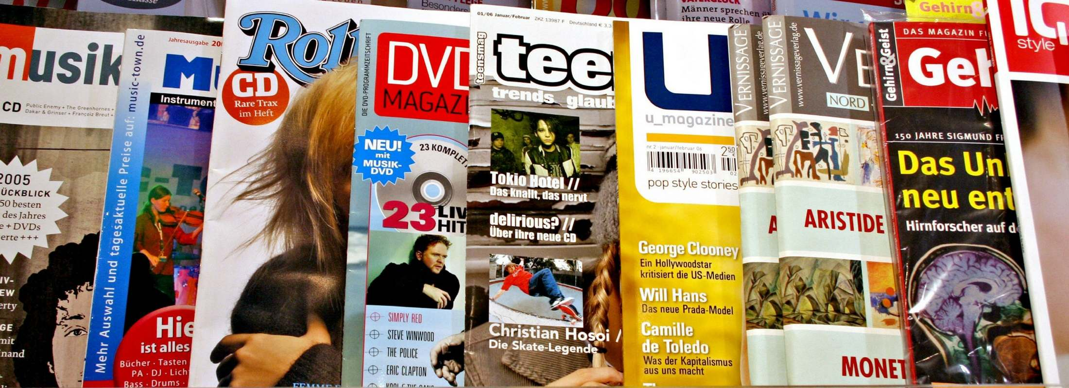 display of magazines for sale